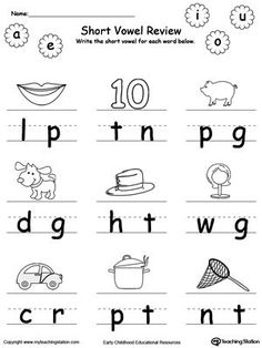 Identify and write the missing short vowel part II in this printable worksheet. Your child will look at the picture, pronounce its name and identify the missing vowel in the word, then write it. English Worksheets For Kindergarten, Reading Worksheets, Kindergarten Reading, Preschool Worksheets, English Activities, Vowel Activities, Free Printable Worksheets, Preschool Printables, Reading Comprehension
