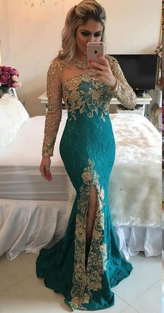 long prom dresses - Good Quality Dark Green Mermaid Lace Evening Dresses Jewel Sexy Sheer Back Long Sleeves Split Front Celebrity Dresses Party Dresses from Butterfly Love Lace Evening Dresses, Prom Dresses With Sleeves, Mermaid Prom Dresses, Sexy Dresses, Evening Gowns, Beautiful Dresses, Fashion Dresses, Bridesmaid Dresses, Formal Dresses