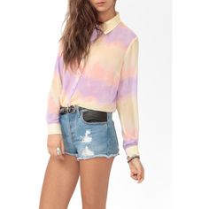 FOREVER 21 Ombré Chiffon Blouse ($20) ❤ liked on Polyvore