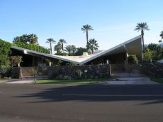 """Leo S. & Ester Maranz House, also known as the """"Gull Wing House,"""" designed by architect Val Powelson in 1960. Located in Rancho Mirage and featured on the cover of Palm Springs Weekend. Today the home is owned by Jazzercise founder and CEO, Judi Sheppard Missett."""