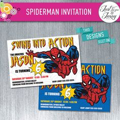Spider man invitation - Made to Order by JustForYouByJenny on Etsy Spiderman Invitation, Custom Party Invitations, Handmade Gifts, Etsy, Craft Gifts, Hand Made Gifts, Homemade Gifts, Diy Gifts