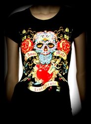 $12 ROLLER DERBY CLOTHING! DAY OF THE DEAD TEE ROLLER DERBY CLOTHING!