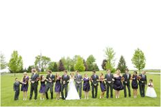 Dallas wedding photographer, bridal party pictures, purple bridesmaid dresses, gray groomsmen tuxes, Countryside Wedding | Morton, IL » Mary Fields Photography
