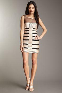 BCBGMAXAZRIA Centurian Satin Stripe Dress with Tulle Yoke - Hautelook.com