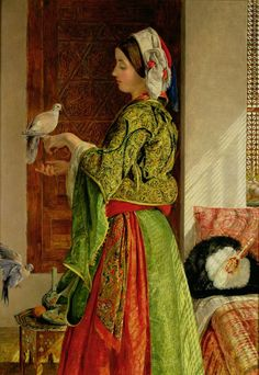 John Frederick Lewis (British Painter, Girl with Doves (In Private Spaces) Image Halloween, Image Chat, Academic Art, Arabian Nights, Famous Artists, Female Art, Art History, Contemporary Art, Fine Art Prints