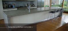 concrete benchtop, white cupboards and floor board colour Concrete Bench Top, Kitchen Dining, Kitchen Decor, Kitchen Ideas, White Cupboards, Polished Concrete, Cool Kitchens, Modern Contemporary, Building A House