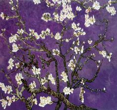 Vincent Van Gogh- Branches of an Almond Tree in Blossom, Amethyst Purple - Canvas Art & Reproduction Oil Paintings Paintings Famous, Van Gogh Paintings, Famous Art, Purple Canvas Art, Purple Painting, Van Gogh Almond Blossom, Chill, Van Gogh Art, Vincent Van Gogh