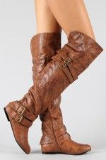 brown knee-high boots w/buckles