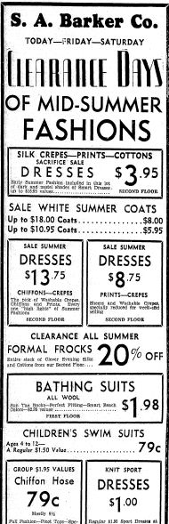 "Ad for summer fashions, published in the Daily Illinois State Journal newspaper (Springfield, Illinois), 20 July 1933. Read more on the GenealogyBank blog: ""Vintage Fashion: Our Ancestors' Summer Apparel."" http://blog.genealogybank.com/vintage-fashion-our-ancestors-summer-apparel.html"