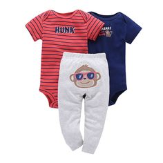 """e998c3ea7cc 3 Piece Striped """"Hunk"""" and """"Bananas Over Mommy"""" Jumpsuits with Gray Pants  Set. Infant ClothingGirl ..."""