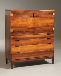 Svend Langkilde; Rosewood and Brass Cabinet, c1961.