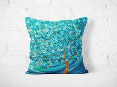 Teal Tree Throw Pillow - S/M/L 100% Cotton Teal & Turquoise Decorative…