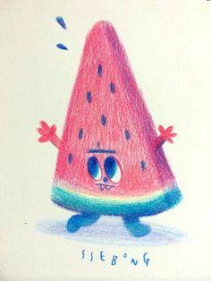 Watermelon by Ssebong Kim, via Behance