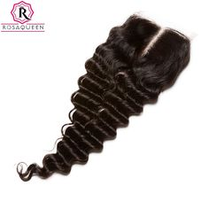 58.00$  Watch now - http://ali2ck.worldwells.pw/go.php?t=32790028526 - Deep Wave Brazilian Lace Closure Free/Middle/Three Part Lace Closure Brazilian Virgin Hair Deep Curly 4X4 Lace Closure