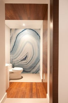 Contemporary Powder Room with painted mural, Paint 1, Frameless, Agate Blue Onyx, Hardwood floors, can lights, quartz floors