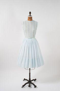 1950's Pale Blue Dress Vintage Wide Skirt with Floral Applique - Sheer Blue Party Dress