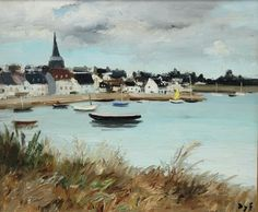 Modern French oil painting entitled, 'Paysage de Lacmariaquer, Bretagne' by Marcel Dyf (1899–1985).