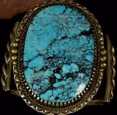 HUGE Old Pawn Vintage Navajo Blue Spiderweb TURQUOISE Sterling CUFF Bracelet