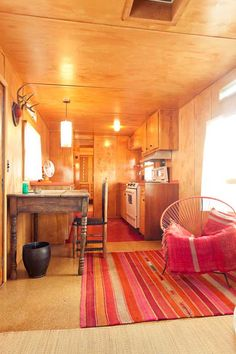 Inside of a trailer at El Cosmico Glamping Resort in Marfa, Texas. Check out the rest of their quirky accommodations.