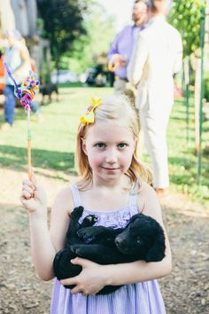 Flower girl and her puppy: http://www.stylemepretty.com/west-virginia-weddings/charleston-west-virginia/2015/05/26/intimate-diy-farmhouse-wedding-in-west-virginia/ | Photography: I Love You Too - http://www.iloveyoutooweddings.com/