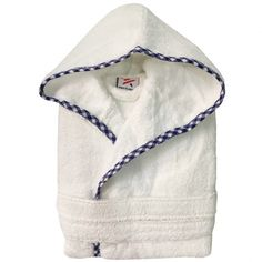 Boys Royal Blue pipping Kids White Hooded Robe b6ff0b652