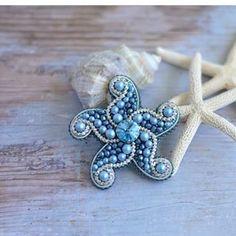 Starfish Brooch Blue Swarovski peals brooch Nautical style jewelry Summer scarf pin - That's It Bead Embroidery Jewelry, Beaded Embroidery, Beaded Jewelry, Silver Jewelry, Silver Rings, Jewelry Shop, I Love Jewelry, Jewelry Making, Jewellery Box