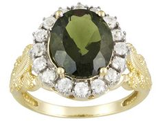 2.85ct Oval Moldavite With .96ctw Round White Zircon 10k Yellow Gold Ring Eav $379.00