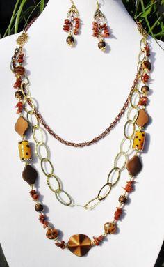 3 strand leopard gold copper goldstone artisan floral by ElmsRealm, $45.00