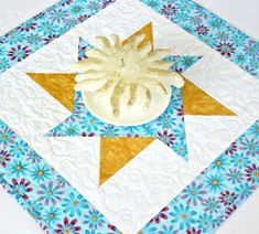 Quilted Table Topper, Turquoise Daisies Candle Mat, Floral Table Quilt