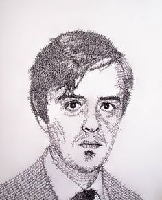 john sokol- drawings with text, I've done self portraits with kids using words that describe themselves and their personality