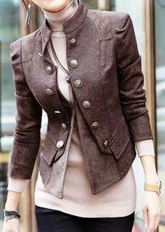 Cool Stylish Double Breast Solid Color Jacket Coat from littledaisy