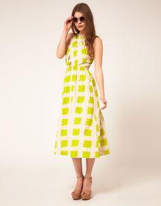 ASOS Printed Midi Summer Dress With Cross Strap Bodice