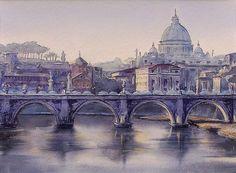 Edyta Nadolska Watercolor Art - ''Ponte Sant'Angelo', Rome, Italy, 2015.