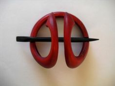 Wooden  Handcrafted Hair Ornament Natural Red for by janadebra