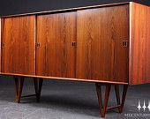 Tall Danish Modern V-Legged Brazilian Rosewood Mid Century Credenza / Sideboard