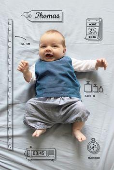 Sie möchten eine originelle und lustige Karte, um die Geburt Ihres Babys zu verkünden? Die Geburtskarte Kleinkram von der Designerin Marion Bizet ist ...