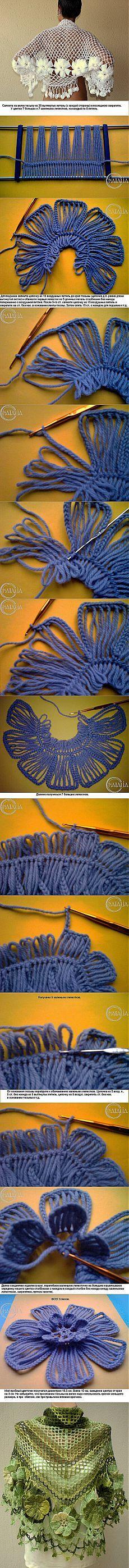 crochet flower tutorial=DIY Basic Flower with Crochet Fork and Hook Hairpin Lace Crochet, Crochet Motif, Crochet Shawl, Crochet Designs, Crochet Stitches, Knit Crochet, Crochet Patterns, Broomstick Lace, Crochet Flower Tutorial