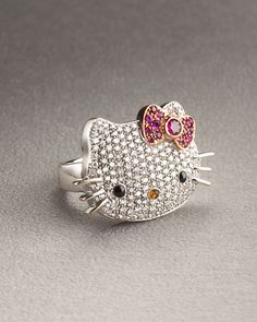 Bling it's a Hello kitty Ring Hello Kitty Wedding, Hello Kitty House, Hello Kitty Items, Hello Cat, Hello Kitty Jewelry, Fantasias Halloween, Hello Kitty Collection, Cat Ring, Big Rings