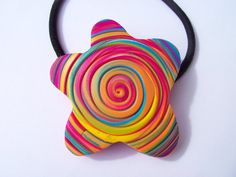 What a great way to brighten up your ponytail!   Decorative Hair Tie ponytail holder polymer by FlowertownOriginals,