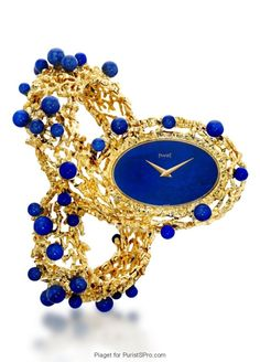 PIAGET Cuff Watch housing the famous movement decorated with Lapis Lazuli beads and dial. Cute Watches, Amazing Watches, Elegant Watches, Beautiful Watches, Watches For Men, High Jewelry, Bling Jewelry, Jewelery, Jewellery Box