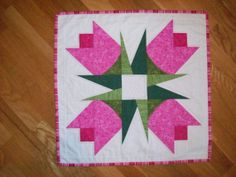 Spring Pink Tulips Quilted Table Topper $32.00