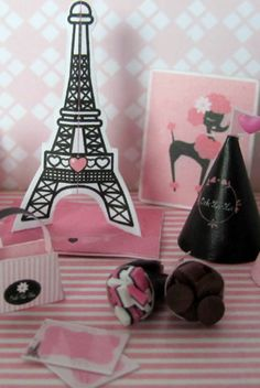Eiffel Tower, Party Hats  Treat Bags
