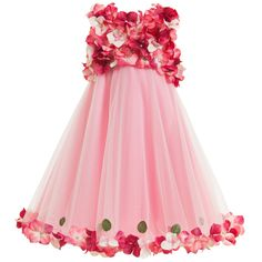 Girls beautiful pink sleeveless dress by <span>Lesy Luxury Flower a collection made to celebrate the 50th anniversary of this brand. With a bodice covered with dark pink hydrangea flowers it has a full, flared skirt made from layers of soft tulle fully lined in a cotton so comfortable against the skin. A stand out dress for that special occasion or party.<br /> <br /> The dress comes presented on a branded hanger and in a organza dust bag adding that special luxury look.<br ...