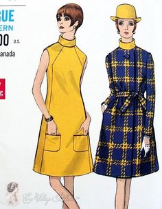 1960s Mod A Line Dress and Coat Vintage Sewing Pattern Vogue Special Design 7401 Classy Style Factory Folded Bust 34