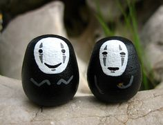 Lot of 2 Spirited Away NO FACE / Faceless Studio Ghibli mini doll model figure (S Size No. 4 - 5)