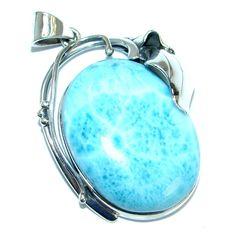Spectacular genuine Larimar .925 Sterling Silver handmade pendant