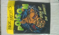 RARE Vintage Poison Open Up and Say Ah! Rock Metal jacket Back Patch New Old/Dead stock