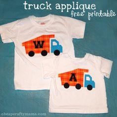 Truck Applique {free printable}!