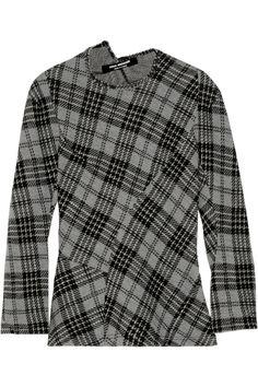 Junya Watanabe|Paneled plaid wool top|NET-A-PORTER.COM