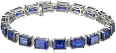 Sterling Silver Created Blue Sapphire Emerald Cut with Diamond Accent Tennis Bracelet, 8' * Check out this great product. (This is an affiliate link) #NiceJewelry